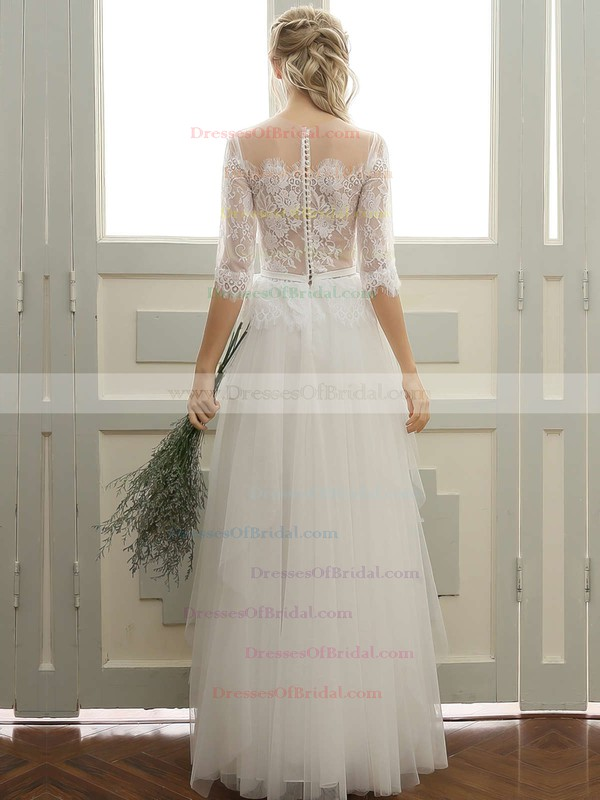 Tulle A-line Scoop Neck Floor-length with Sashes / Ribbons Wedding Dresses #DOB00023060