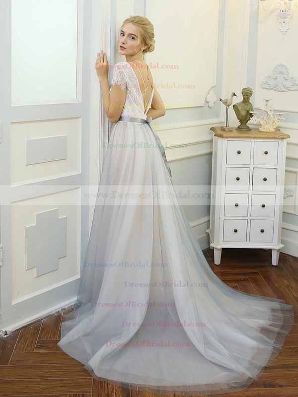 Tulle Lace A-line Scoop Neck Sweep Train with Sashes / Ribbons Wedding Dresses #DOB00023061
