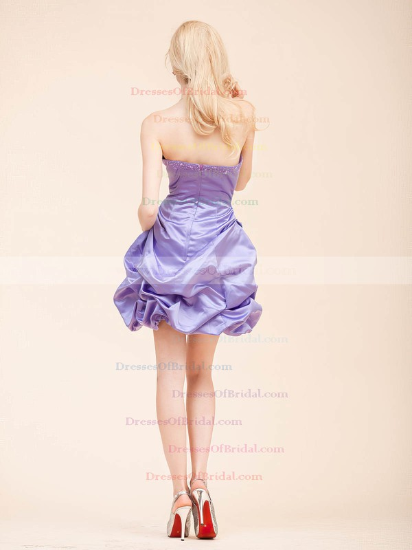 Strapless A-line Short/Mini Satin Draped Bridesmaid Dresses #DOB02022798