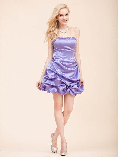 Strapless A-line Short/Mini Satin Draped Bridesmaid Dresses #DOB02022798