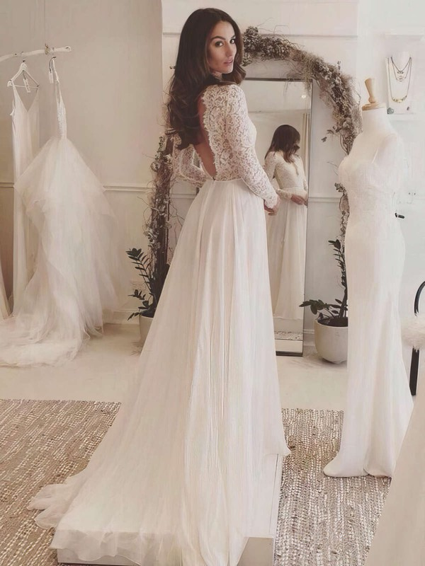 Tulle Chiffon A-line V-neck Sweep Train with Appliques Lace Wedding Dresses #DOB00023063