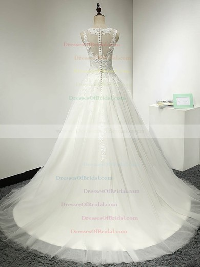 Tulle Ball Gown Scoop Neck Sweep Train with Appliques Lace Wedding Dresses #DOB00023064
