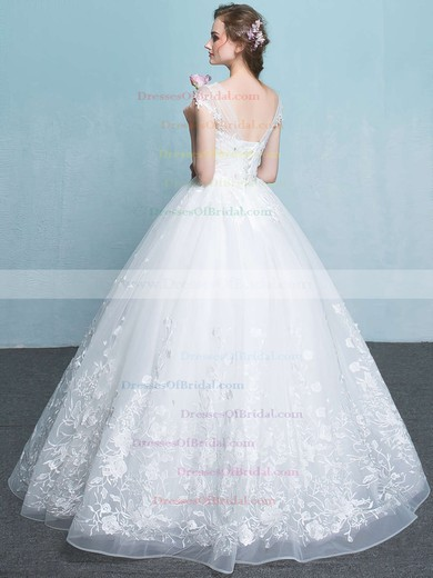 Organza Ball Gown Scoop Neck Floor-length with Appliques Lace Wedding Dresses #DOB00023065
