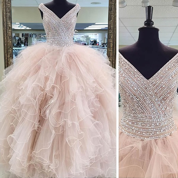 Tulle Ball Gown V-neck Floor-length with Crystal Detailing Wedding Dresses #DOB00023066