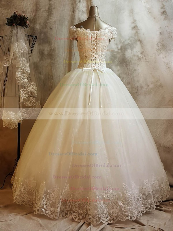 Tulle Ball Gown Off-the-shoulder Floor-length with Beading Wedding Dresses #DOB00023068