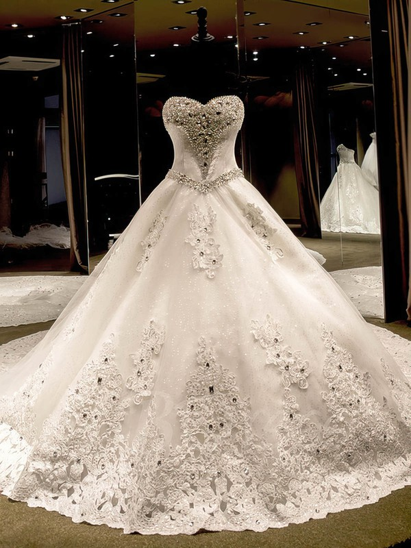 Tulle Ball Gown Sweetheart Cathedral Train with Appliques Lace Wedding Dresses #DOB00023069
