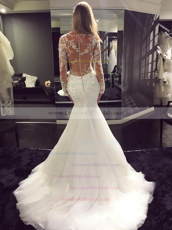 Tulle Trumpet/Mermaid Scoop Neck Sweep Train with Appliques Lace Wedding Dresses #DOB00023070