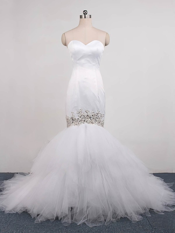 Tulle Trumpet/Mermaid Sweetheart Sweep Train with Beading Wedding Dresses #DOB00023071