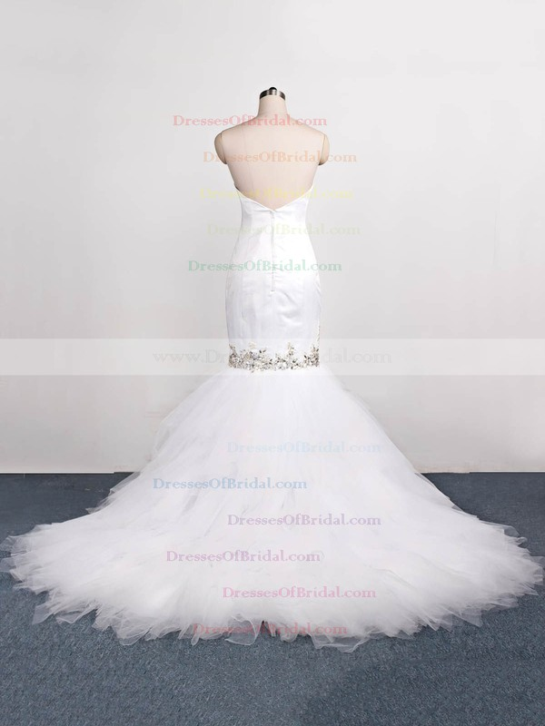 Tulle Trumpet/Mermaid Sweetheart Sweep Train with Beading Wedding Dresses #DOB00023071