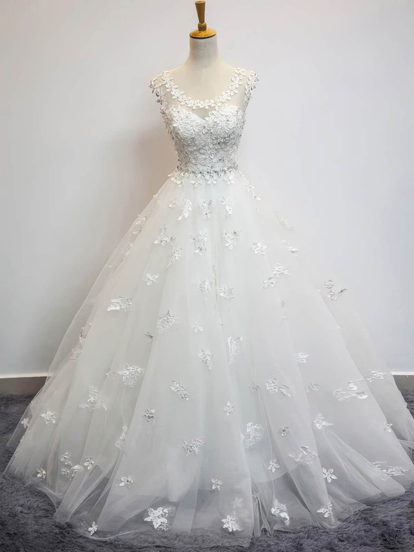 Tulle Ball Gown Scoop Neck Floor-length with Beading Wedding Dresses #DOB00023072