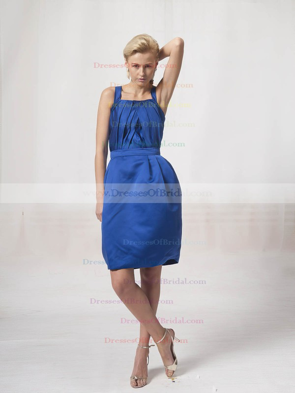 Square A-line Knee-length Satin Sashes/Ribbons Bridesmaid Dresses #DOB02022814