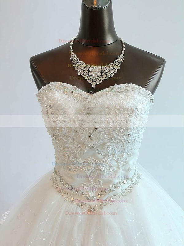 Tulle Ball Gown Sweetheart Chapel Train with Beading Wedding Dresses #DOB00023073