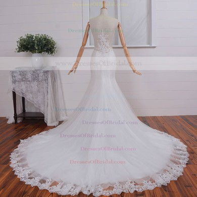 Lace Tulle Trumpet/Mermaid V-neck Court Train with Appliques Lace Wedding Dresses #DOB00023074
