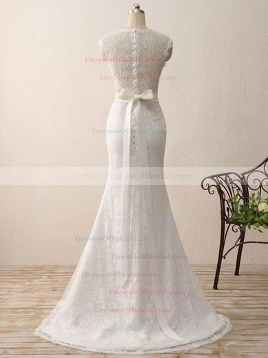 Lace Trumpet/Mermaid V-neck Sweep Train with Sashes / Ribbons Wedding Dresses #DOB00023075