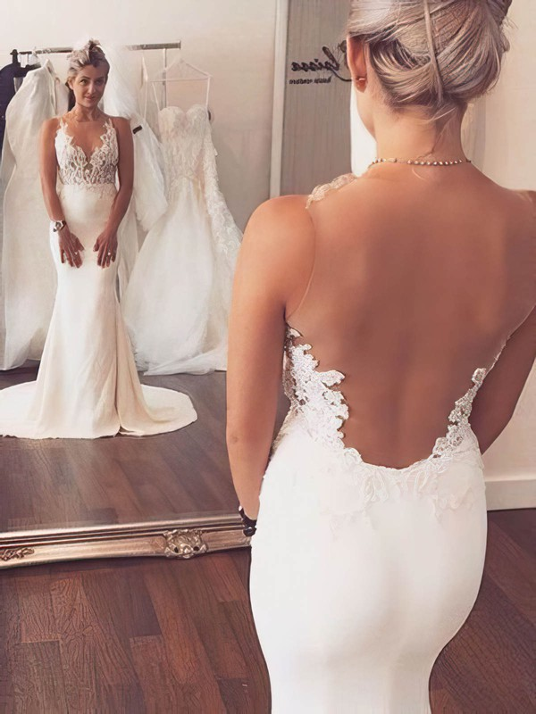 Tulle Silk-like Satin Trumpet/Mermaid Scoop Neck Sweep Train with Appliques Lace Wedding Dresses #DOB00023076