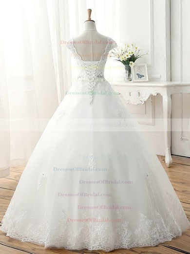 Tulle Ball Gown V-neck Floor-length with Beading Wedding Dresses #DOB00023077