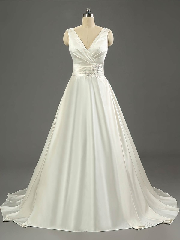 Satin Ball Gown V-neck Sweep Train with Ruffles Wedding Dresses #DOB00023079