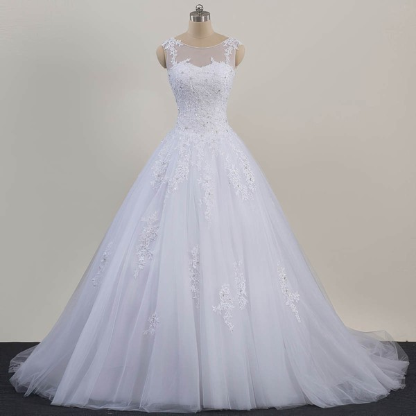 Tulle Ball Gown Scoop Neck Sweep Train with Beading Wedding Dresses #DOB00023081