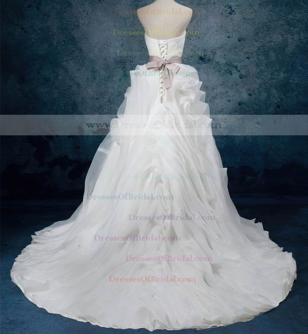 Organza Ball Gown Sweetheart Court Train with Sashes / Ribbons Wedding Dresses #DOB00023082