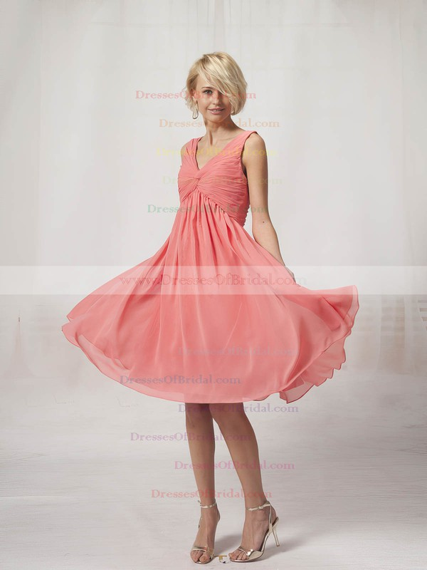 V-neck A-line Knee-length Chiffon Pleats Bridesmaid Dresses #DOB02022816