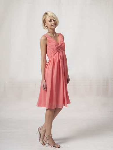 V-neck A-line Knee-length Chiffon Pleats Bridesmaid Dresses #DOB02022816