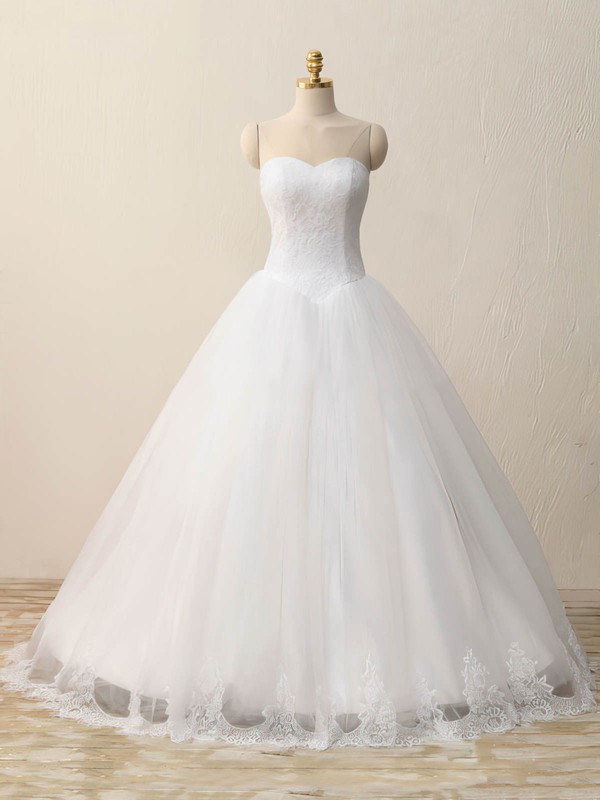 Tulle Lace Ball Gown Sweetheart Floor-length with Appliques Lace Wedding Dresses #DOB00023083