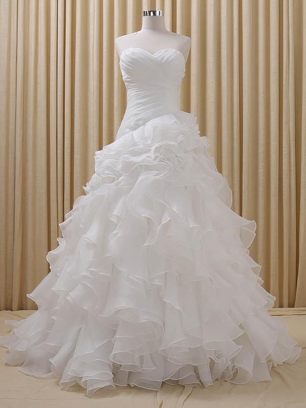 Organza Princess Sweetheart Court Train with Cascading Ruffles Wedding Dresses #DOB00023085