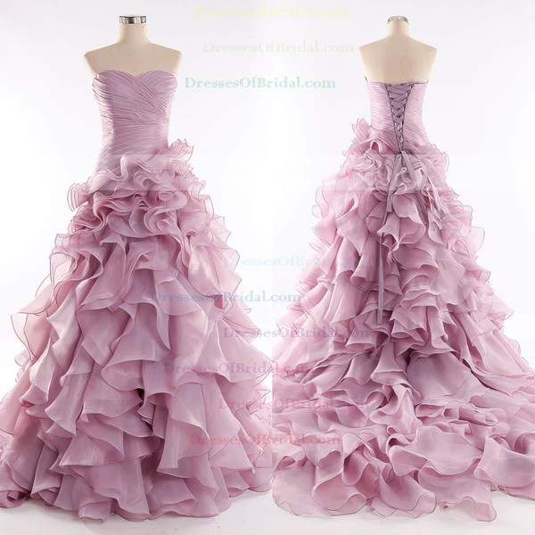 Organza Princess Sweetheart Court Train with Cascading Ruffles Wedding Dresses #DOB00023085