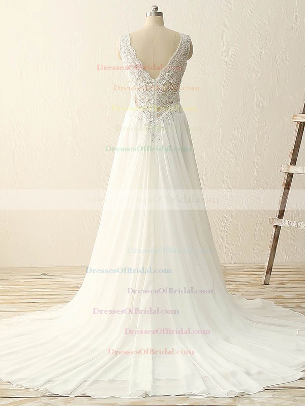 Tulle Chiffon A-line V-neck Sweep Train with Sequins Wedding Dresses #DOB00023086