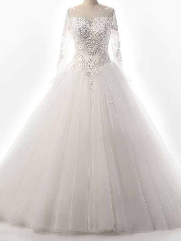 Tulle Ball Gown Scoop Neck Floor-length with Beading Wedding Dresses #DOB00023087