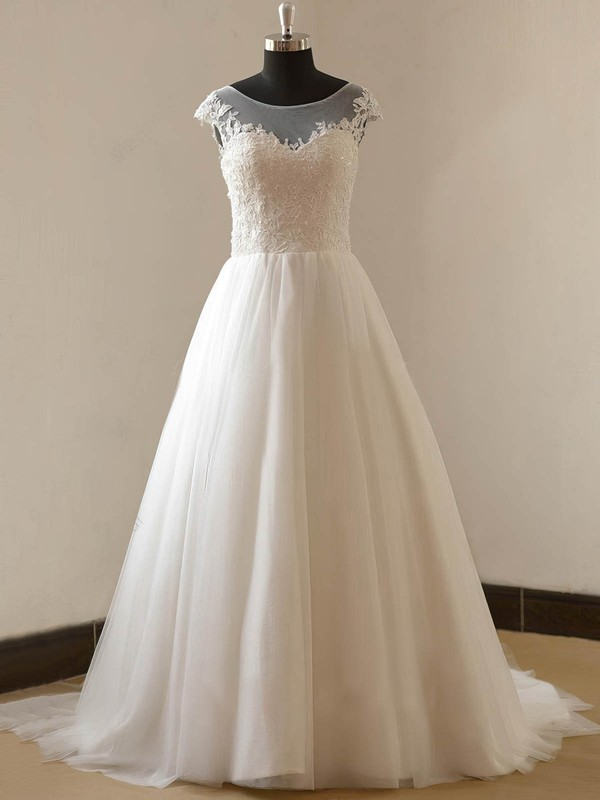 Tulle Princess Scoop Neck Sweep Train with Appliques Lace Wedding Dresses #DOB00023088