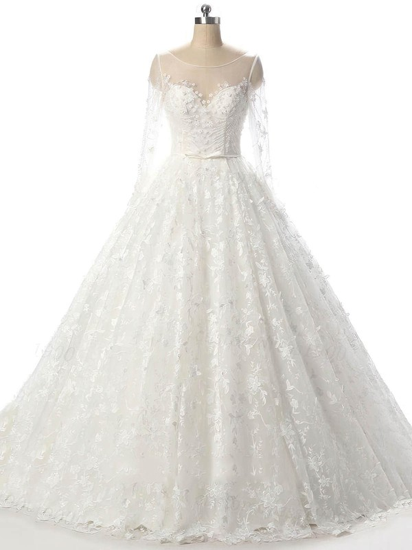 Tulle Ball Gown Scoop Neck Court Train with Beading Wedding Dresses #DOB00023089