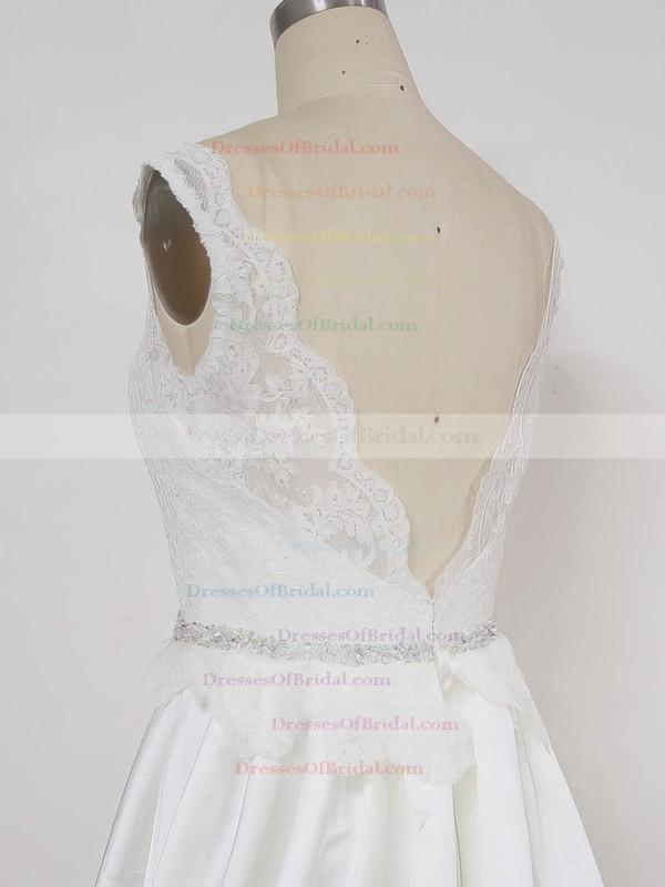 Lace Satin Princess V-neck Sweep Train with Beading Wedding Dresses #DOB00023002