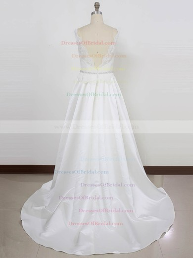 Lace Satin Princess V-neck Sweep Train with Beading Wedding Dresses #DOB00023002