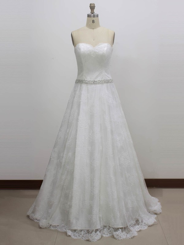Lace Princess Sweetheart Sweep Train with Sashes / Ribbons Wedding Dresses #DOB00023003