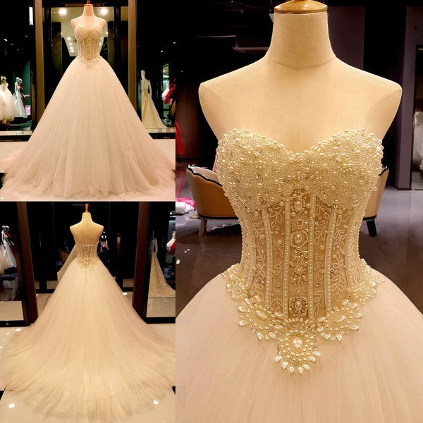 Tulle Ball Gown Sweetheart Court Train with Crystal Detailing Wedding Dresses #DOB00023004