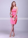 Strapless Sheath/Column Short/Mini Satin Pleats Bridesmaid Dresses #DOB02042132