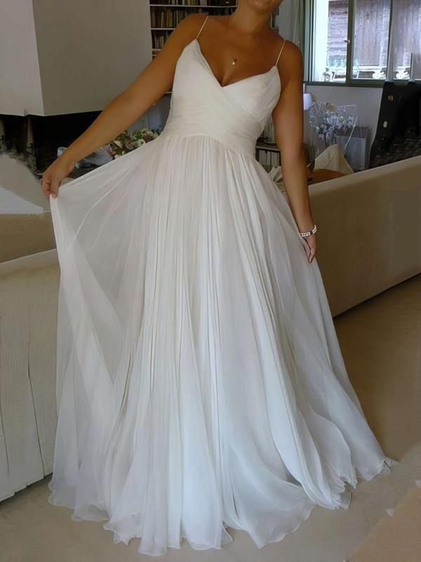 Chiffon A-line V-neck Court Train with Ruffles Wedding Dresses #DOB00023006