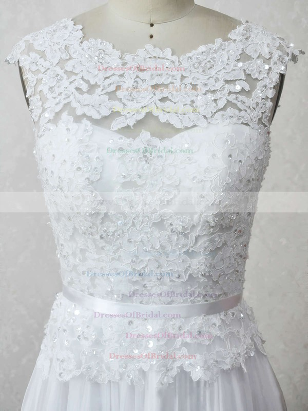 Chiffon Tulle A-line Scoop Neck Floor-length with Appliques Lace Wedding Dresses #DOB00023007