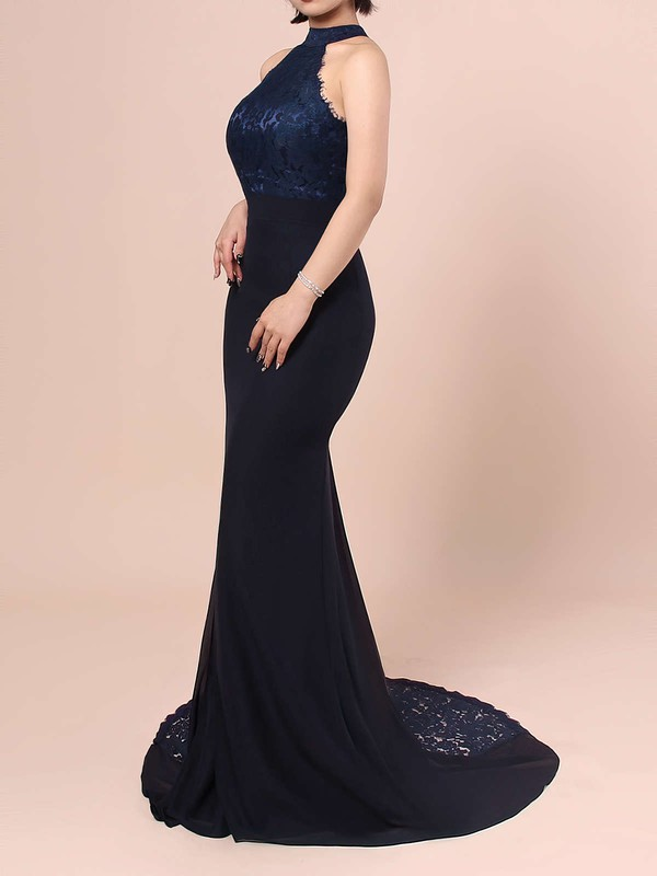 Lace Chiffon Trumpet/Mermaid High Neck Sweep Train Ruffles Bridesmaid Dresses #DOB01013462