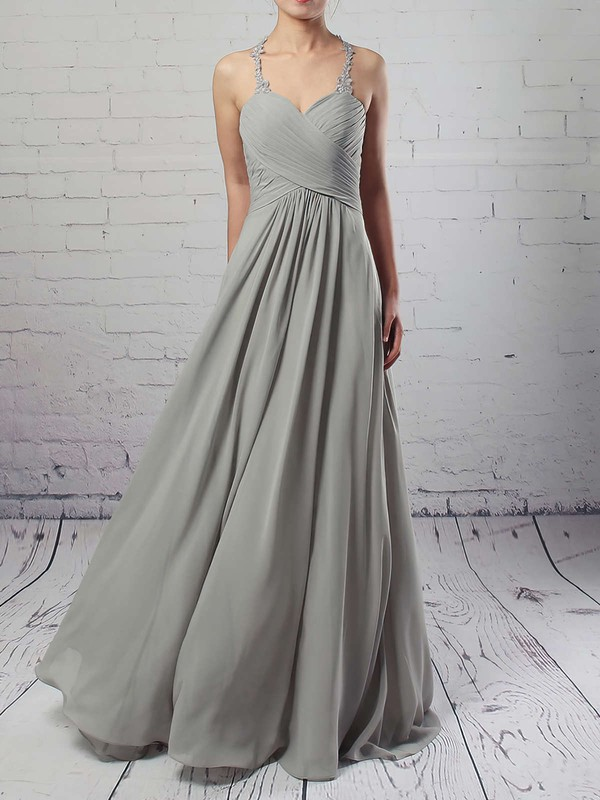 Chiffon Tulle Empire V-neck Floor-length Ruffles Bridesmaid Dresses #DOB01013463