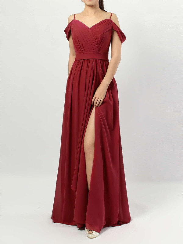 Chiffon A-line V-neck Floor-length Sashes / Ribbons Bridesmaid Dresses #DOB01013464