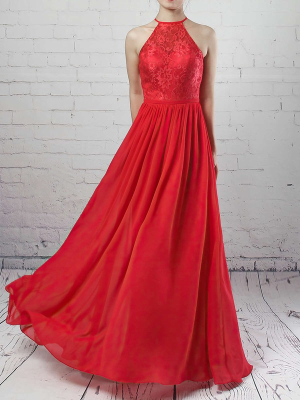 Lace Chiffon A-line Scoop Neck Floor-length Sashes / Ribbons Bridesmaid Dresses #DOB01013468