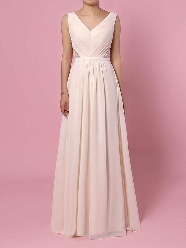 Chiffon A-line V-neck Floor-length Lace Bridesmaid Dresses #DOB01013470