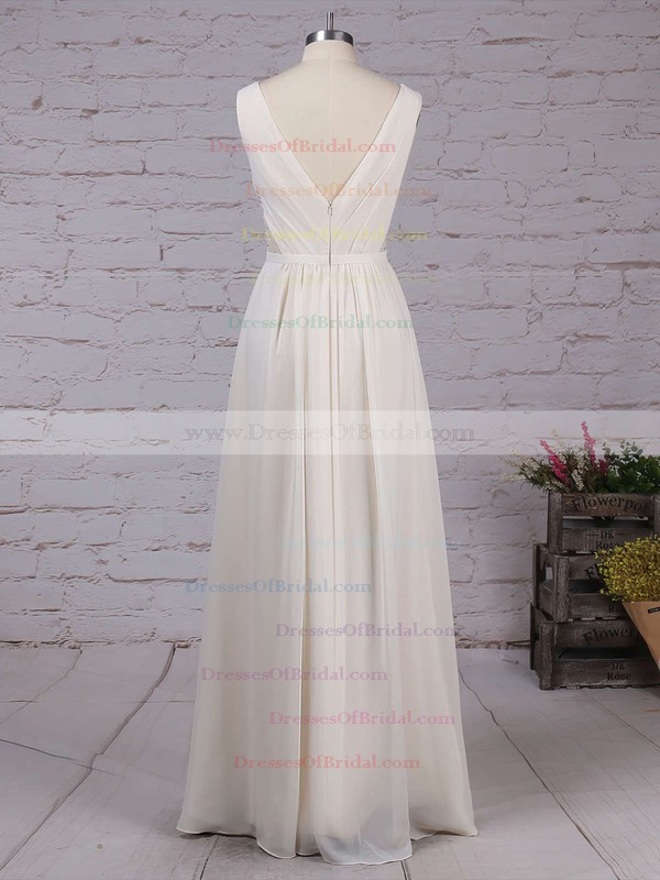 Chiffon A-line V-neck Floor-length Lace Bridesmaid Dresses #DOB01013470