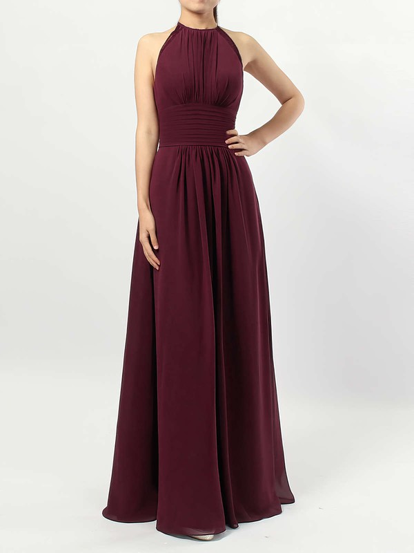 Chiffon A-line Scoop Neck Floor-length Ruffles Bridesmaid Dresses #DOB01013474