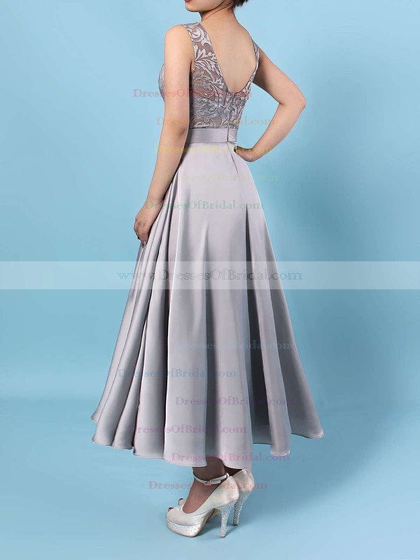 Lace Satin Chiffon A-line Scoop Neck Asymmetrical Sashes / Ribbons Bridesmaid Dresses #DOB01013476