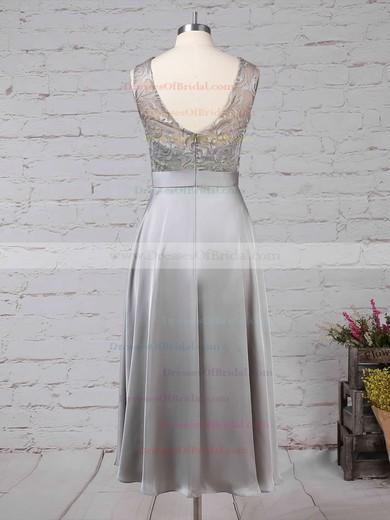 Lace Satin Chiffon A-line Scoop Neck Asymmetrical Sashes / Ribbons Bridesmaid Dresses #DOB01013476