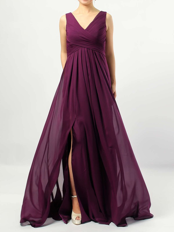 Chiffon Empire V-neck Floor-length Ruffles Bridesmaid Dresses #DOB01013477