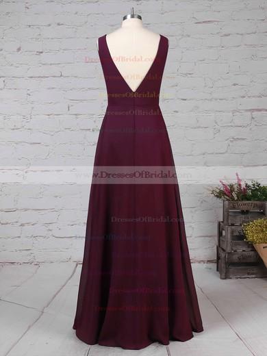 Chiffon Empire V-neck Floor-length Ruffles Bridesmaid Dresses #DOB01013477